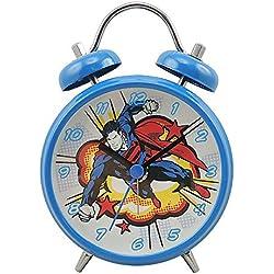 Joy Toy 106295 Réveil Superman, Métal, Bleu, 9 x 4,5 x 13 cm