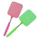 COM-FOUR® Juego de 2 Swatters telescópicos, extensibles 24 - 56 cm (02 piezas - verde / rosa)
