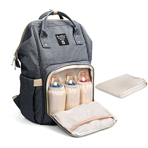 Baby Wickelrucksack Wickeltasche mit Wickelunterlage Multifunktional Oxfrod Große Kapazität Babytasche Kein Formaldehyd Reisetasche für Unterwegs (Grau)
