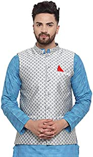 NEUDIS by Dhrohar Jacquard Cotton Printed Nehru Jacket/Waistcoat For Men - Cream