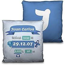 Lolapix Cojín Bebé Natalicio Azul Personalizado. Datos de Nacimiento. Regalo Original. Relleno Incluido