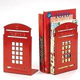 Set 2 fermalibri in metallo a forma di cabina telefonica Maiuguali art.11409