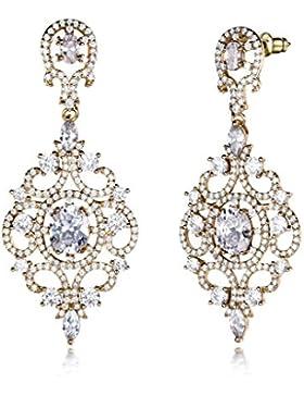 GULICX Gold-Ton Weiß Zirkonia Blumen Ohrhänger Für Braut Groß und lang Ohrringe Round Chandelier