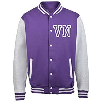 KIDS VARSITY JACKET WITH FRONT INITIAL PERSONALISATION ( Extra Small - Age 3/4 - Purple / White ) NEW PREMIUM Unisex American Style Letterman College Baseball Custom Top Boy Girl Children Child Gift Present AWD Soulstar Omega Bomber - By Fonfella