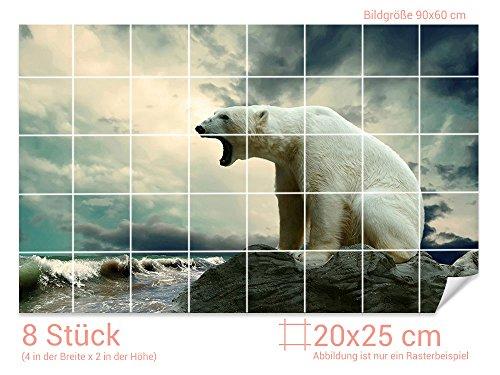 GRAZDesign Fliesenaufkleber EIS-Bär/Meer für Kacheln Wand-Deko für Bad/Küchen-Fliesen (Fliesenmaß: 20x25cm (BxH)//Bild: 90x60cm (BxH))