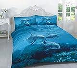 Linen Empire Ltd Bettwäsche-Set mit passenden Kissenbezügen, wendbar, Polycotton, Delfin, Einzelbett