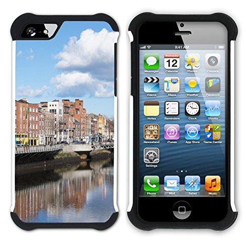 Graphic4You Dublin Irland Postkarte Aussicht Hart + Weiche Kratzfeste Hülle Case Schale Tasche Schutzhülle für Apple iPhone SE / 5 / 5S Design #1