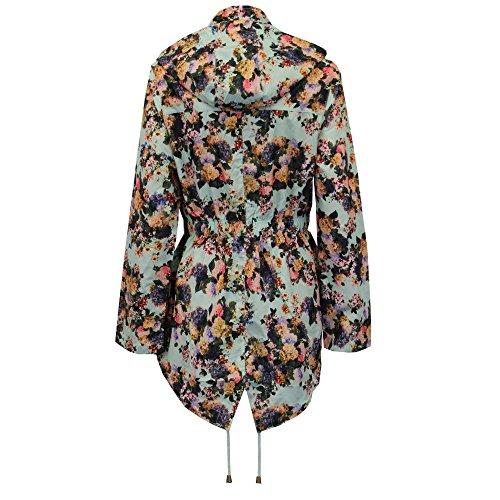 Damen Kagool Jacke Brave Soul Damen Blumenmuster Regen Langer Mantel Mit Kapuze Fischschwanz neuwertig - Gardenia