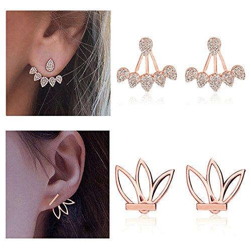 Suyi Mode Hohl Lotus Blume Ohrringe Kristall Einfach Schick Ohrringe Set BRG