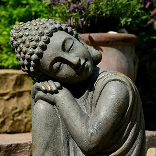 Garten Buddha in klasse Messingoptik aus Stein - 3