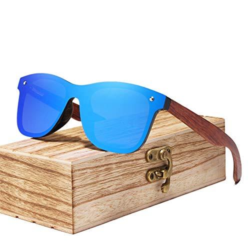 Zbertx Randlose Polarisierte Holz Sonnenbrille Männer Quadratischen Rahmen Uv400 Sonnenbrille Frauen Sonnenbrille Männlich,Blau