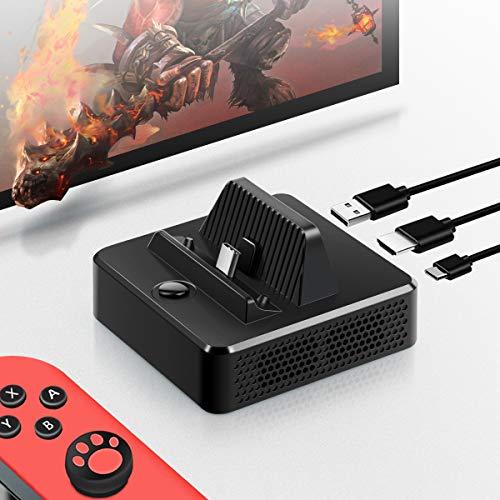 Jemall Switch Dock Adapter, tragbare Ersatz-Ladestation für Nintendo Switch Ladestation mit USB 3.0 Datenanschluss, HDMI @4K 1080P Video Port, USB Typ C Power Input Port Hdmi-video-switching