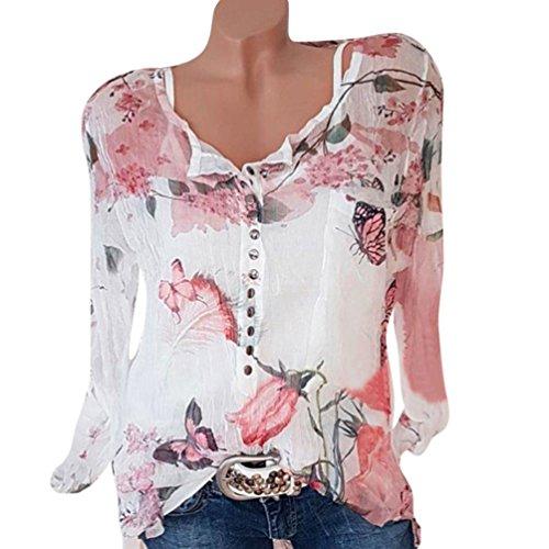 VJGOAL Femmes en Mousseline De Soie Top Mode Casual Floral Imprimé Bouton T-Shirt en Mousseline De Soie IrréGulièRe Hem Top Blous