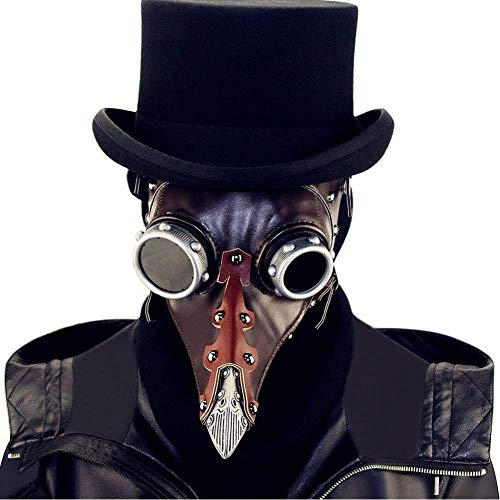 LIKEDA Maske Halloween Requisiten Männer Geier Maske, Steampunk Pest Vogel Nase Maske Halloween Scary Echt PU Leder Weihnachten Kostüm Requisiten,Brown