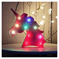 Unicorn Head Marquee Sign Magical Glow Night Light with Diamond Light Bulb, Mood Table Lighting, Holiday Party Supply - Pink Unicorn Head Colorful Glow