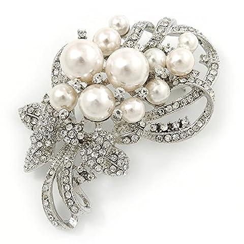 Bridal Wedding Blanc fausse perle, cristal transparent Broche florale ton