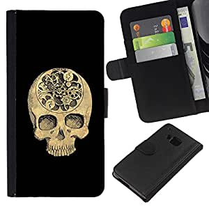 JackGot ( Skull Black Time Signification mort profonde ) HTC One M7 Credit Card Slots PU Wallet Pouch Housse de protection Skin Cas Case Coque