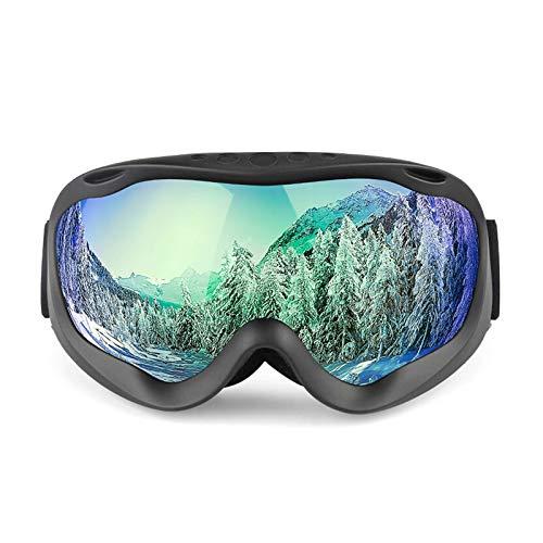 DOLOVE Schnee Brille Fahrrad Sportbrille Herren Schutzbrille Rotlichtlampe Matte Schwarz+Grün Lens