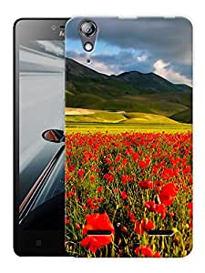"""Humor Gang Red Flower Field Printed Designer Mobile Back Cover For """"Lenovo A6000 - A6000 PLUS"""" (3D, Matte Finish, Premium Quality, Protective Snap On Slim Hard Phone Case, Multi Color)"""