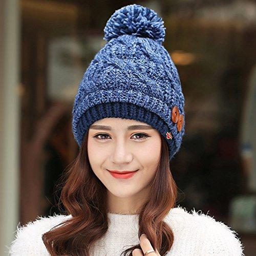 FQG*enfants hiver Caps Hiver Tricot marée coréen Hat l'automne et l'hiver, et non pelucheux hat tricot kit de cache oreilles , Tête à Tsing mélangeur de couleurs Le mixage de couleur bleu