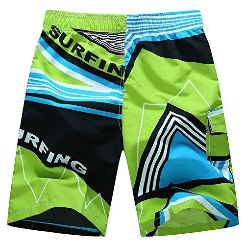 Vectri Herren Boardshorts Badeshorts Badehose Surfen Strand Shorts Grün