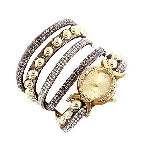 Minshao Mode Multi couches simili cuir Band Strass Perles Chaîne à quartz Bracelet montre-bracelet pour coffret cadeau pour femme gris