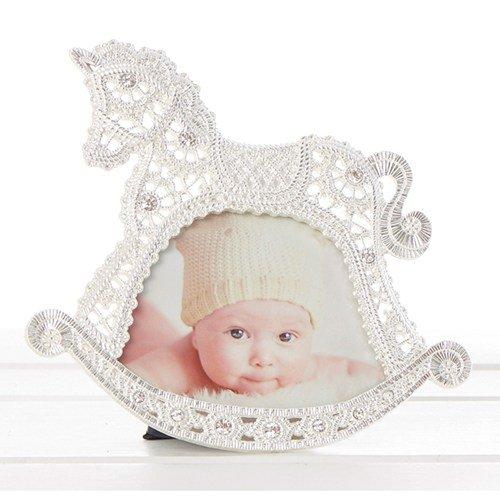 Baby 's Taufe Schaukelpferd mit Spitze Effekt Bilderrahmen