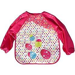 Happy Cherry Impermeable Infantil Blusón Delantal Babero de Mangas Larga Protección de Ropita para Bebés Niños Niñas