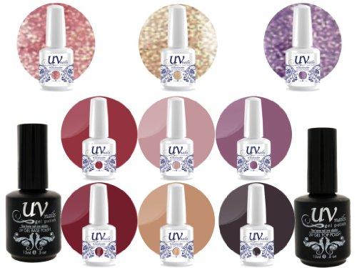 UV Nail Gel Proffesionel Collection True Romance 3 Paillettes Vibrante+6 Gels+Base&Top+Polissoir a Ongles Aviva
