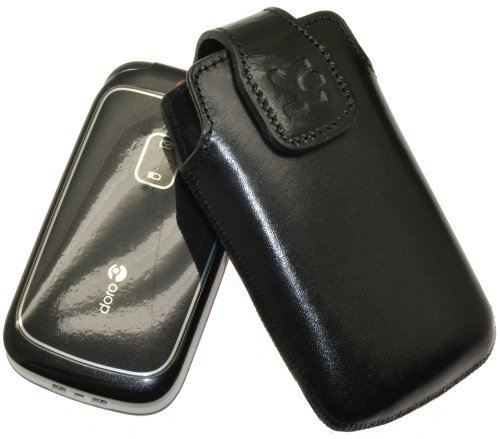 Original Suncase Tasche für Doro 2414 / Leder Etui Handytasche Ledertasche Schutzhülle Case Hülle / in schwarz