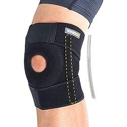 BRACOO verstellbare Kniebandage mit Stabilisatoren – Kniestütze – Knieorthese | Knieschutz mit Klettverschluss & flexiblen Seitenstabilisatoren für extra Halt