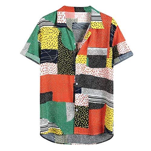 Toamen Funky Camicia Hawaiana | Uomini | Manica Corta | Tasca Frontale | Stampa Hawaiana | Spiaggia Estate | più Colori(Arancia,3XL)
