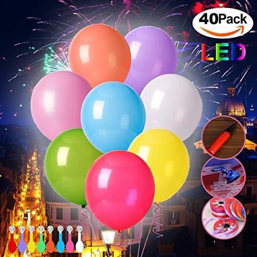 Afuqa Bunte LED Luftballons, 40 Stücke Leuchtende Ballons für Hochzeit Party/Geburtstag/Festival/Weihnachten Dekoration mit Bunte Ballons (Leuchten Blinkender Ballon)