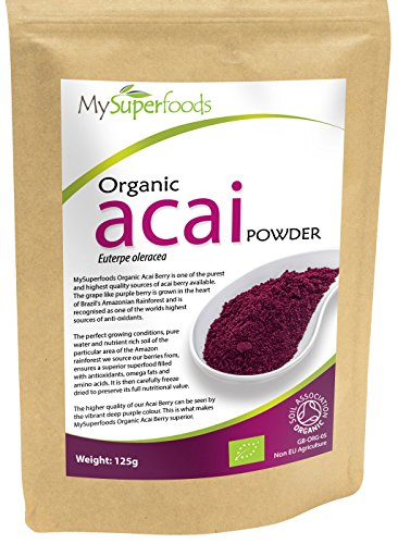MySuperfoods Bio Acai Beeren-Pulver (125 g) | Höchste Qualität | Antioxidantien & Detox mithilfe der kraftvollen Acai Beere (Acai Bio Pulver)
