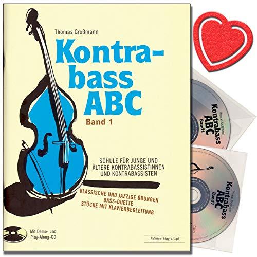 Kontrabass ABC Band 1 - Kontrabassschule mit 2 CDs - Schule für junge und ältere Kontrabassistinnen und Kontrabassisten - mit bunter herzförmiger Notenklammer