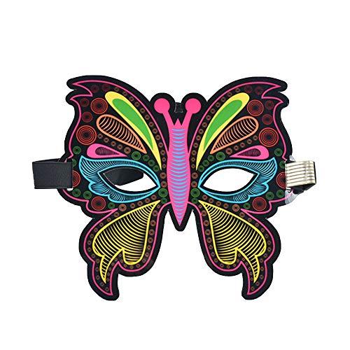 Wuxi Chuannan Halloween-Musik-Maske mit LED-Klang-Aktivierung, leuchtet gruselig, für Partys und Kostüme, C, Einheitsgröße (Pärchen-halloween-kostüme Einfache Erwachsene Für)
