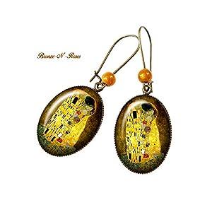 Ohrringe Der Kuss Gustav Klimt malte retro Vintage gelbes Tafelglas