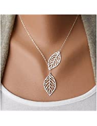 Malloom®1 piezas mujer niñas simple metal doble hoja colgante gargantilla collar (plata (silver))