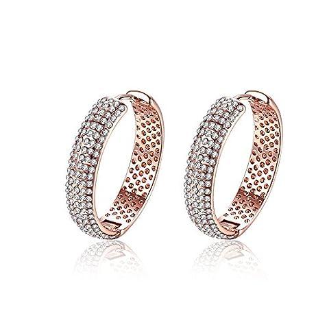 Fjyouria Femme 18ct Plaqué or rose Cercle Forme Boucles d'oreilles créoles avec Full Cristaux brillants Boucles d'oreilles dormeuses