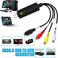 Video Audio VHS VCR USB Video Capture Card to DVD Converter Capture Card Adapter USB 2.0 TV to Digital Converter Support Win 2000/Win Xp/Win Vista/Win 7/Win 8/ Win 10 Linux