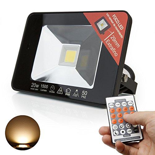 ExtraStar LED Ultraslim Flutlicht Bewegungsmelder Fernbedienung IP65 Strahler Scheinwerfer wasserdicht 1500lm (Warmweiß 3000K JFX02-M2W)