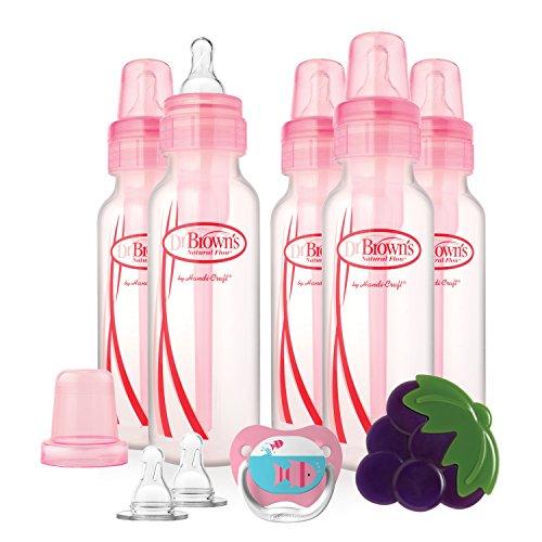 Dr. Brown's bouteilles Fille Ensemble cadeau avec tétine/anneau de dentition/mamelons, 240 ml