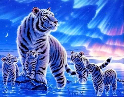 Suubboo DIY Malen Nach Zahlen Leopard Familie Handbemalte Acrylfarbe Auf Leinwand Kalligraphie Malerei Für Wohnkultur 40X50Cm