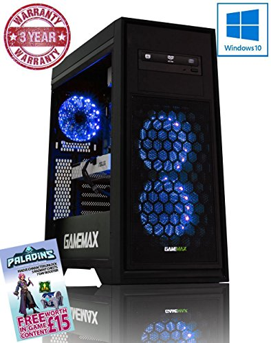 Cheapest Price for ADMI GTX 1050 #GameReady GAMING PC: AMD FX-6350 4.2GHz Six Core Processor / NVIDIA GeForce GTX 1050 2GB GDDR5 Graphics Card / 16GB 1600MHz DDR3 RAM / 1TB Hard Drive / 500W PSU Bronze Rated / HD Audio / USB 3.0 / HDMI/4K Ultra HD Support / Game Max Titan Blue LED Gaming Case / DVDRW 24x / Pre-Installed with Windows 10 Online
