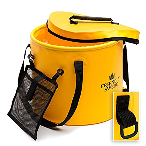 Collapsible Bucket for Camping, Travel and Gardening - With Lid and Mesh Tool Pocket, by The Friendly Swede (Yellow, 10L)