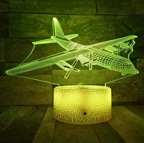 SFALHX Glider 3D Nachtlichter Fernbedienung/Touch-Schalter LED 7 Farben Ändern Flugzeug USB Schreibtisch Tischlampe Geschenk für Jungen Schlafzimmer Dekor
