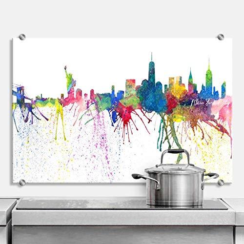 Spritzschutz Bleichner - New York City Aquarell Skyline USA Stadt Sehenswürdigkeiten Farbkleckse bunt Freiheitsstatue NY Küche Küchenrückwand mit Wandhalterung Wall-Art