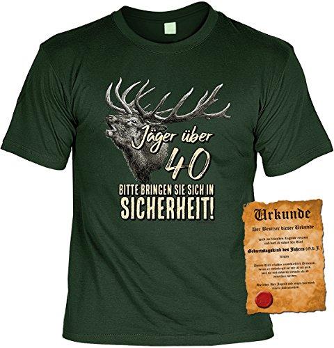 Lustiges Geburtstagsgeschenk Leiberl für Männer T-Shirt mit Urkunde Jäger über 40 Bitte bringen Sie sich in Sicherheit! Leibal zum Geburtstag Dunkelgrün