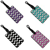 Set Of 4 Zig Zag Patterned 3D Rubber Luggage Name