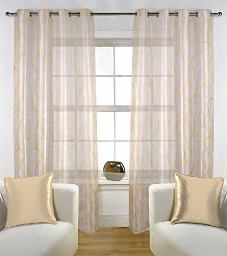 check MRP of gold coloured curtains FABUTEX